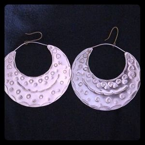 Hand-made hammered silver earrings